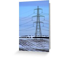 Electricity Pylon - Snowy Field Greeting Card