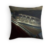 1946 Plymouth Glass Hood Ornament Throw Pillow