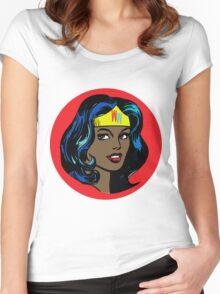 Wonder Woman Pop Art Women's Fitted Scoop T-Shirt