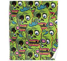 A bunch of Zombie Skulls Poster