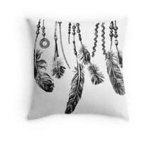 background with hand drawn feathers Throw Pillow