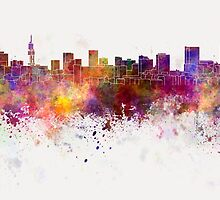 Pretoria skyline in watercolor background by paulrommer