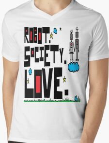 Robot Society Love Mens V-Neck T-Shirt