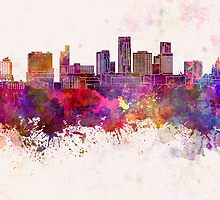 St. Paul skyline in watercolor background by paulrommer