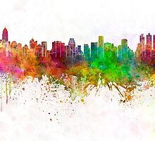 Bangkok skyline in watercolor background by paulrommer