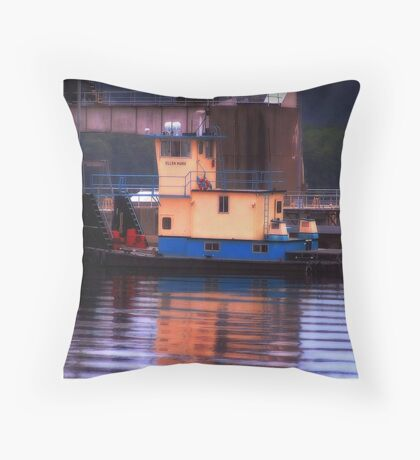 Old Tugboat: Mississippi River Throw Pillow