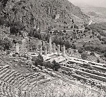 Temple of Apollo and Theatre, Delphi 1960, Sepia by Priscilla Turner