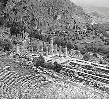 Temple of Apollo and Theatre, Delphi 1960, B&W. by Priscilla Turner