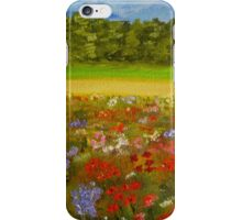 Wildflower field, home decor, wall art, impressionism iPhone Case/Skin