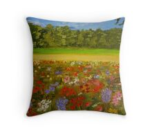 Wildflower field, home decor, wall art, impressionism Throw Pillow