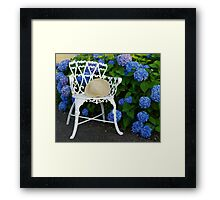 Straw hat, blue Hydrangeas and a Patio chair Framed Print