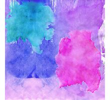 Pink, Purple, Teal, and Blue Watercolor Smudges Photographic Print