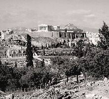 Athenian Acropolis from Philopappou Hill, 1960, Sepia by Priscilla Turner