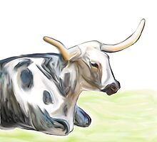 Longhorn At Rest by Stephanie A Marks