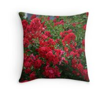 """RED"" CREPE MYRTLE BUSHES Throw Pillow"