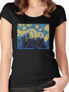 Dr Who Hogwarts Starry Night Women's Fitted Scoop T-Shirt
