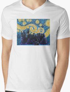 Dr Who Hogwarts Starry Night Mens V-Neck T-Shirt