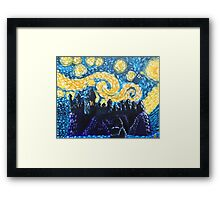 Dr Who Hogwarts Starry Night Framed Print