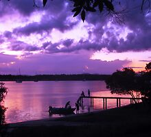 Purple Fishing Sunset by Martice