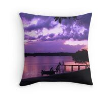 Purple Fishing Sunset Throw Pillow
