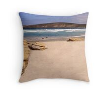 Down on the beach at East Mylies Throw Pillow