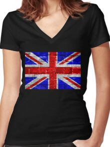 Union Jack Flag Brick Wall Women's Fitted V-Neck T-Shirt