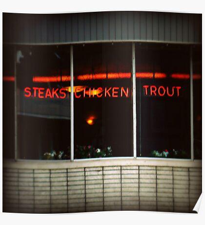 steaks, chicken, trout Poster