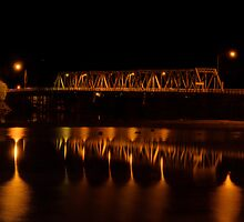 Yarrawonga-Mulwala Bridge at Night by David Hunt