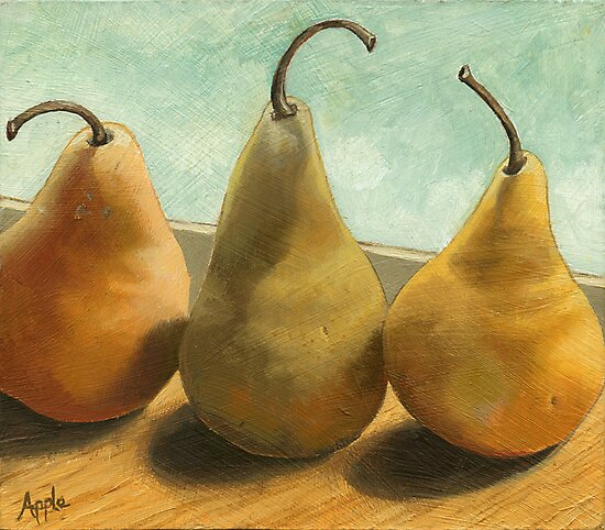 The Three Graces - fruit still life by LindaAppleArt
