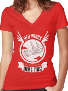 Red Wings of Baron Women's Fitted V-Neck T-Shirt
