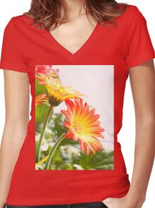Two Flowers Women's Fitted V-Neck T-Shirt