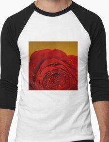 Red Rose macro Men's Baseball ¾ T-Shirt