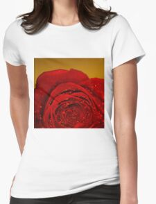 Red Rose macro Womens Fitted T-Shirt