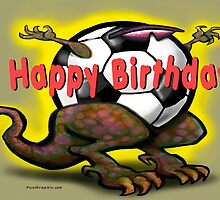 Soccer Saurus Rex Birthday Card by Kevin Middleton