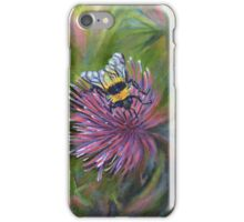 Acrylic painting, Bee on thistle nature art iPhone Case/Skin