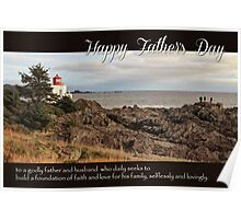 Father's Day Lighthouse - Religious Greeting Card for Dad Poster