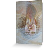 Cracked Down - An Upside Down Portrait Of A Woman Greeting Card