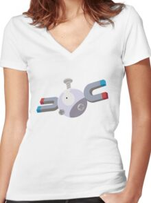 Magnemite Pokemon Simple No Borders Women's Fitted V-Neck T-Shirt