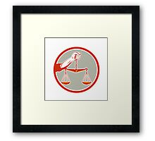 Hand Holding Weighing Scales Circle Retro Framed Print