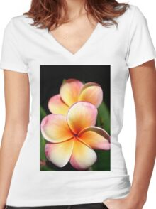 Pink Orchid. Women's Fitted V-Neck T-Shirt