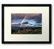 Village and rainbow Framed Print