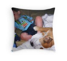 A little boy's best friend... Throw Pillow