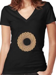 Spirograph on old paper Women's Fitted V-Neck T-Shirt