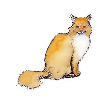 Watercolor Orange Tabby Cat Photographic Print