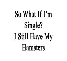 So What If I'm Single? I Still Have My Hamsters  Photographic Print