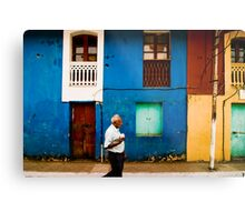 Vibrant wall with Pedestrian Metal Print