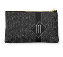 1920s Jazz Deco Swing Monogram black & silver letter M Studio Pouch