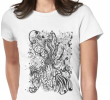 Dream Land in Black and White Womens Fitted T-Shirt