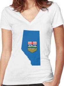 Alberta Flag Map Women's Fitted V-Neck T-Shirt