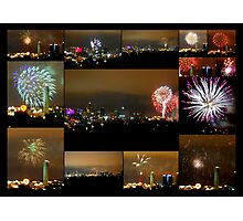 Collage of Fireworks over Kansas City, Missouri, Skyline Photographic Print